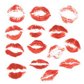 Set of beautiful red lips print on isolated white background  — Stock Vector