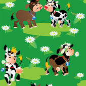 Seamless pattern with cute cartoon cows on green background. Rea — Stock Vector