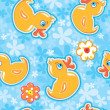 Seamless pattern with cartoon toy - yellow duck - hand made cuto — Stock Vector