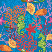 Seamless nautical pattern on blue background with sea horses, fi — Stock Vector