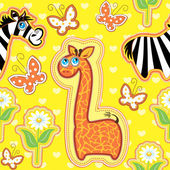 Seamless pattern with cartoon animals - giraffe and zebra - hand — Stock Vector