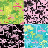 Set of seamless patterns with palm trees, butterflies and flamin — Stock Vector