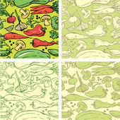 Set of seamless patterns with delicious vegetables. Ready to use — Stock Vector