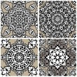 Set of squared backgrounds - ornamental seamless pattern. Design — Stock Vector