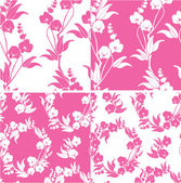 Set of Seamless pattern with orchids silhouette — Stock Vector