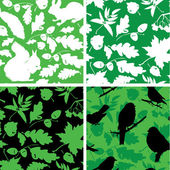 Set of Seamless patterns with birds, leaves and squirrel silhoue — Stock Vector