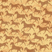 Seamless pattern with wild horses Silhouettes on old paper textu — Stock Vector