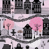 Seamless pattern with fairy tale houses, lanterns silhouettes, t — Stock Vector