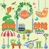 Spring and summer village and garden set with flowers, agricultu — Stock Vector