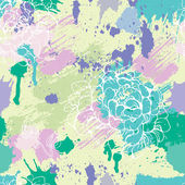 Seamless pattern with blots, ink splashes and hand drawn flowers — Stock Vector