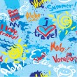 Seamless pattern with blots, ink splashes and hand written text — Stock Vector