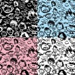 Set of seamless patterns. Cartoon faces with different emotions. — Stock Vector #45365531