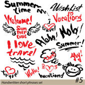 Set of short phrases - hand written text VACATIONS, I love trave — Stock Vector