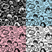 Set of seamless patterns. Cartoon faces with different emotions. — Stock Vector