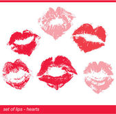 Set of beautiful red lips in heart shape print on isolated white — Stock Vector