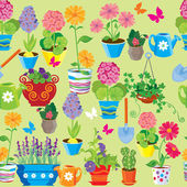 Seamless pattern with spring and summer flowers in pots. Ready t — Stock Vector