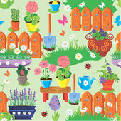 Seamless pattern with spring and summer flowers, agriculture too — Stock Vector