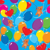 Seamless pattern with colorful balloons and teddy bears on sky blue background. Ready to use as swatch — Stock Vector