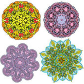 Set of 4 colorful round ornaments, kaleidoscope floral patterns. — Stock Vector
