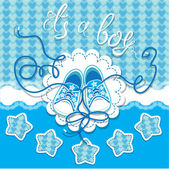 Holiday Dard children gumshoes on blue background - design for b — Stock Vector