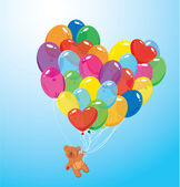 Image with colorful balloons in heart shape and teddy bear on sk — Stock Vector