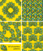 Set of Seamless patterns - ornaments are made of peacock feather — Stock Vector