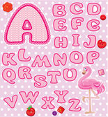 ABC - Childish alphabet - letters are made of pink lace and ribb — Stock Vector