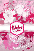 Vertical Card in grunge style with handwritten text ALOHA, VACAT — Stock Vector