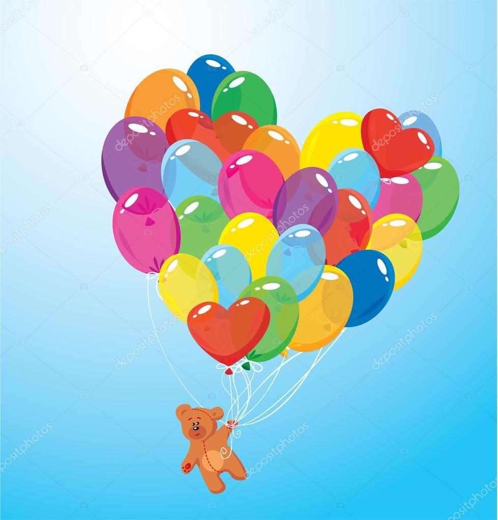 Immagine con palloncini colorati a forma di cuore e - Immagine con palloncini ...