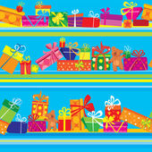 Seamless pattern with colorful gift boxes, presents and teddy be — Stock Vector