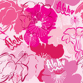 Seamless pattern with hand drawn outlines frangipani, Plumeria f — Stock Vector