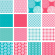 Set of fabric textures in pink and blue colors - seamless patter — Stock Vector #46357827