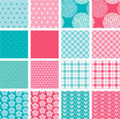 Set of fabric textures in pink and blue colors - seamless patter — Stock Vector