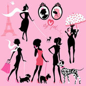 Set of black silhouettes of fashionable girls with their pets -  — Stock Vector