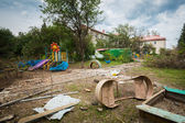 Bombed kindergarten Slavyansk — Stock Photo