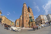 Old Town square in Krakow, Poland — Stockfoto