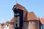 The medieval port crane over Motlawa river in Gdansk, Poland — Stock Photo