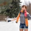 Happy  young  woman outdoor in winter — Stok fotoğraf