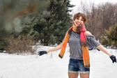 Happy young woman outdoor in winter — Stock Photo