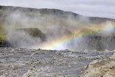 Dettifoss waterfall rainbow, Iceland. — Stock Photo