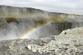 Dettifoss waterfall rainbow, Iceland. — Stock Photo