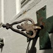 Ancient key of chapel door. — Stock Photo