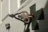 Ancient key of chapel door. — Stock Photo