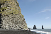 Basalt rock at volcanic beach in Iceland. — Stock Photo
