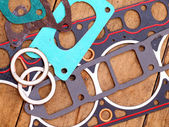 Gaskets for the engine on the table — Stock Photo