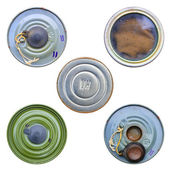 Metal cans background — Stockfoto