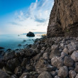 View of rocky coast in night. Long exposure shot — Stock Photo #32718687