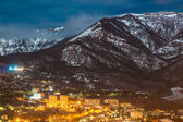 Night snow mountain city light landscape — Foto de Stock