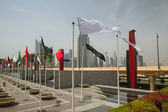 Flags on square near Dubai mall — Stockfoto