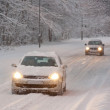 Two Cars Driving in Snow — Stock Photo